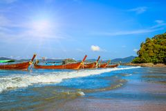 Longtrail boat in MAYA Bay Phi Phi Islands Andaman sea  Krabi Th Royalty Free Stock Image