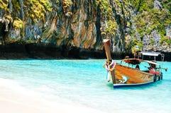 Longtrail boats on port at Maya bay Phi Phi Islands Andaman sea Stock Photography