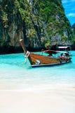 Longtrail boats on port at Maya bay Phi Phi Islands Andaman sea Royalty Free Stock Images