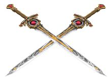 Longue épée d'imagination avec la pierre rouge sur un fond d'isolement illustration 3D illustration stock