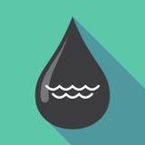 Longue baisse d'huile d'ombre avec un signe de l'eau Photo stock