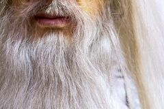 Longue barbe blanche d'un magicien, d'un chiffre de cire près, d'une bouche et d'une barbe Photographie stock libre de droits