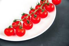Longue branche des tomates-cerises fraîches mûres organiques d'un plat blanc s'étendant sur le fond noir de texture Photographie stock libre de droits