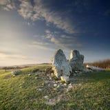 Longue brouette de Dorset illuminée par coucher du soleil Photographie stock libre de droits
