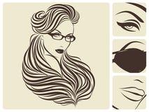 Longue coiffure ondulée. Illustration de vecteur. Photographie stock libre de droits