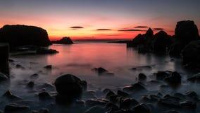 Longue expo de beau coucher du soleil Images libres de droits