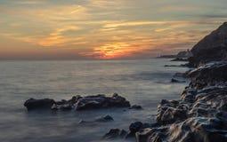 Longue exposition de coucher du soleil gentil images libres de droits