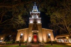 Longue exposition de l'église de St Anne la nuit dans le maryl d'annapolis Images libres de droits