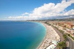 Longue exposition de littoral à Nice Photos stock