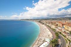 Longue exposition de littoral à Nice Photo libre de droits