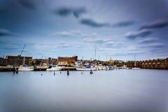 Longue exposition du bord de mer dans le canton, Baltimore, le Maryland Photo libre de droits