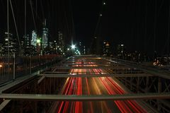 Longue exposition sur le pont de Brooklyn Photographie stock libre de droits