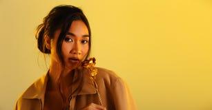 Longue femme bronzage droite asiatique de peau de cheveux noirs images libres de droits