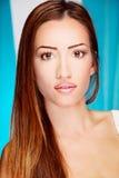Longue femme de brunette de cheveu images libres de droits