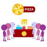 Longue file d'attente au compteur de pizza Photos libres de droits