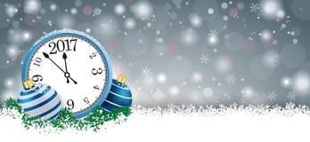 Longue horloge 2017 de Grey Christmas Card Blue Baubles Photographie stock libre de droits