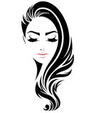 Longue icône de coiffure de femmes, visage de femmes de logo sur le fond blanc illustration stock