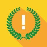 Longue icône de guirlande de laurier d'ombre avec un signe d'admiration illustration de vecteur