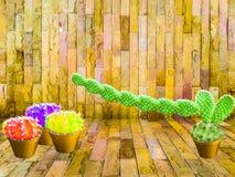Longue pierre de main de castus vert et d'ami de boule de couleur du castus trois Photographie stock
