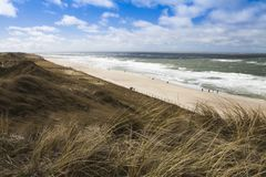 Longue plage sablonneuse en Europe du nord Photos stock