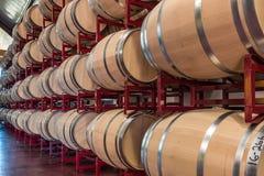 Longue rangée des barils de vin sur le support Image libre de droits