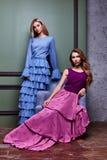 Longue robe de bel du yang deux de femme usage blond sexy de dame joli Photographie stock libre de droits