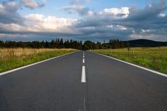 Longue route à la forêt Image stock