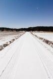 Longue route neigeuse et ciel étoilé d'espace libre dans la lumière de lune Photo libre de droits