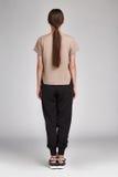 Longue soie de bel de charme de femme usage sexy de cheveux foncés Images stock
