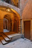 The `Longue Traboule` passageway in lyon. LYON, FRANCE, March 19, 2018 : A traboule in historic center of Lyon. Traboules are a type of passageway originally Stock Photo