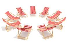 Longue vermelho dos chaises no círculo Fotos de Stock Royalty Free