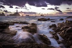 Longue vue de mer d'exposition photographie stock libre de droits