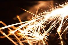 Longues étincelles de magnésium d'exposition Images stock