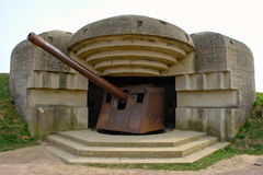 Longues battery bunker and  gun in Normandy France Royalty Free Stock Photography