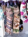 Longues chaussettes de laine à la foire Photographie stock