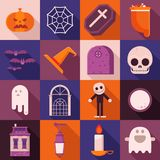 Longues icônes d'ombre de Halloween Image libre de droits