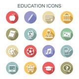 Longues icônes d'ombre d'éducation Photographie stock libre de droits