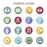 Longues icônes d'ombre d'appareil-photo Image libre de droits