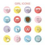Longues icônes d'ombre de fille illustration stock