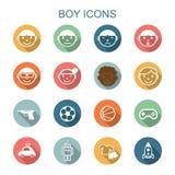 Longues icônes d'ombre de garçon illustration stock