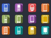 Longues icônes d'ombre de téléphone portable plat Images libres de droits
