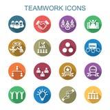 Longues icônes d'ombre de travail d'équipe illustration de vecteur
