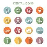 Longues icônes dentaires d'ombre Image libre de droits