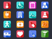 Longues icônes médicales plates d'ombre Images libres de droits