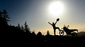 longues routes et aventures de motocyclette Photographie stock