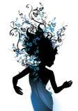 Longues vignes normales de cheveu bleues Images libres de droits