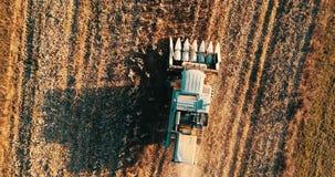 Longueur aérienne de l'agriculteur à l'aide de la moissonneuse de cartel et travaillant les champs banque de vidéos