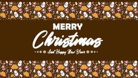 Longueur de bonhomme de neige, de père noël, de cloches, et de cannes de sucrerie pour le Joyeux Noël illustration stock
