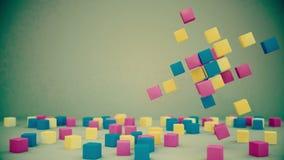 Longueur de fond avec les cubes defferent en couleurs de rotation et les cubes aléatoires illustration stock