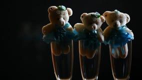 Longueur en verre de hd de champagne d'ours de laine clips vidéos